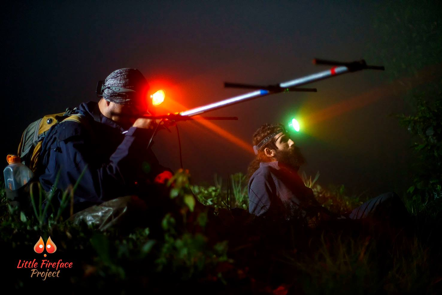 Scientists at work in the Javanese jungle at night