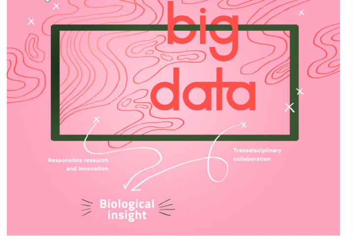 Logotegning i rosa av big data.
